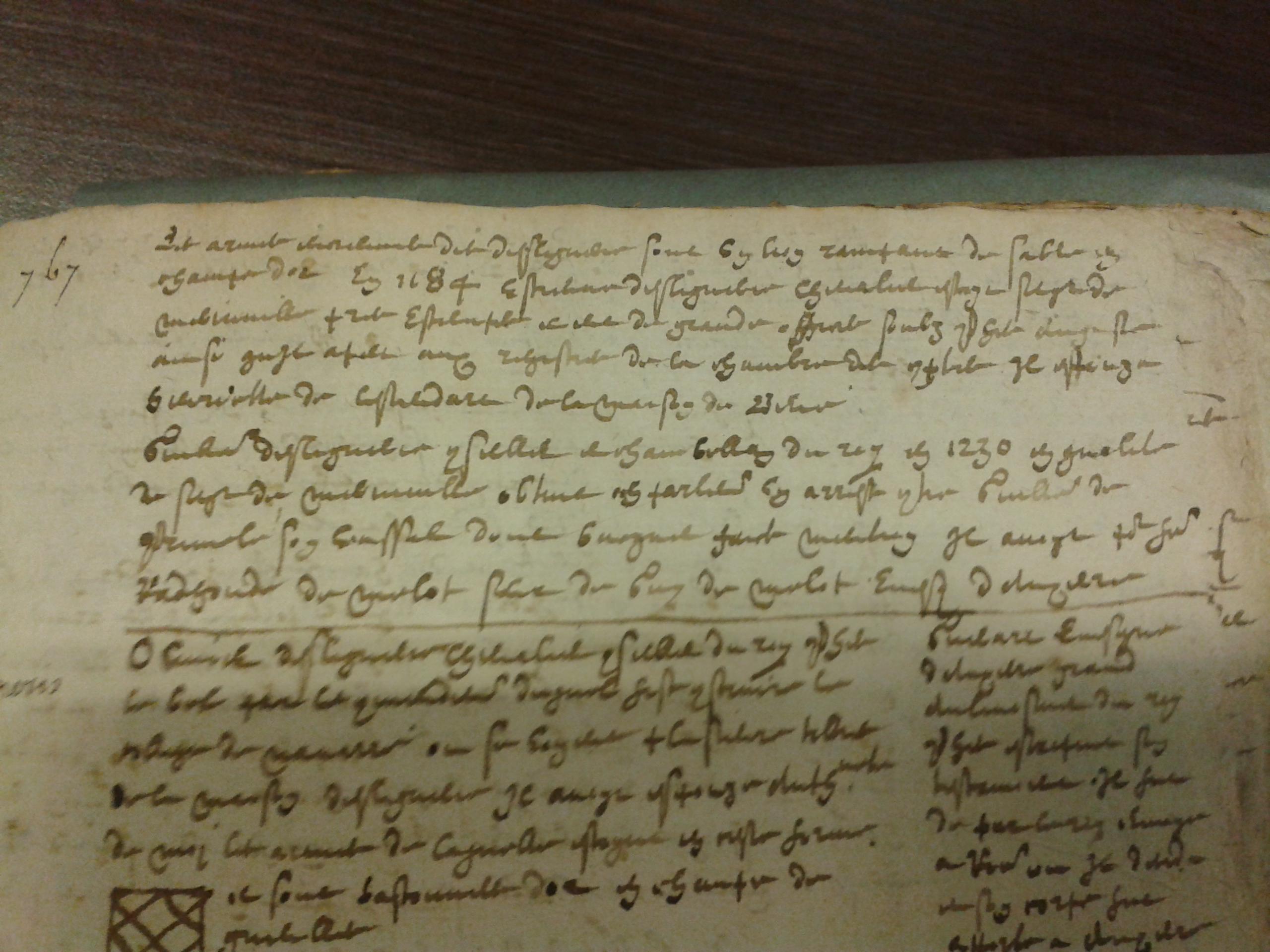 Un aperçu du manuscrit de Guillaume Laisné, conservé à la Bibliothèque Nationale, ouvert à la page relatant l'histoire de la famille des Ligneris (manuscrit des années 1620 environ)