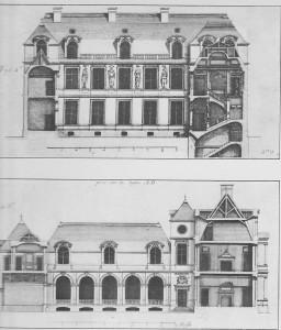 Hôtel Carnavalet, gravures de Marot, XVIIè siècle. En haut façade sur la cour et coupe de l'escalier, en bas état ancien de l'aile gauche de la cour et coupe des façades sur la rue et sur le jardin