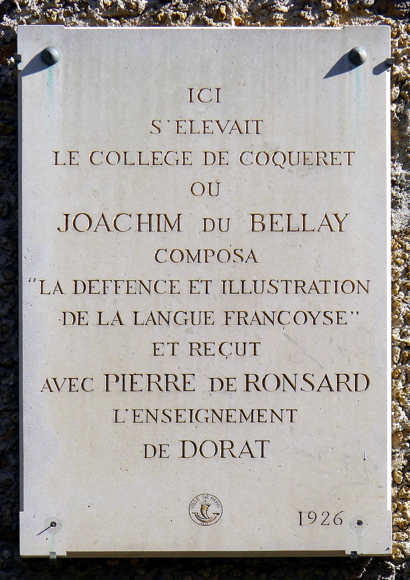 Paris V impasse Chartière, plaque signalant l'ancien Collège de Coqueret