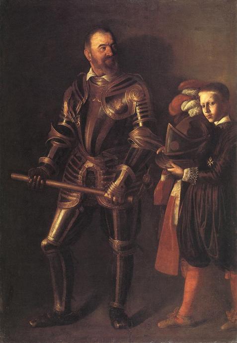 Portait d'Alof de Wignacourt Grand Maître de l'Ordre de Malte avec l'un de ses pages, en 1607, peint par Le Caravage