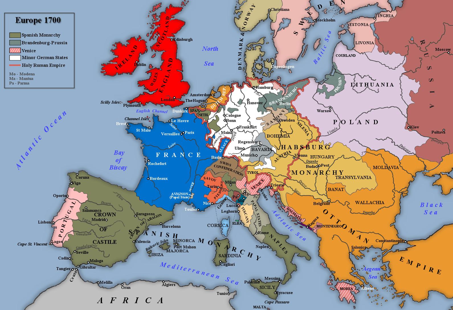 Carte de l'Europe au traité de Ryswick, 1697