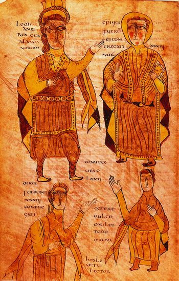 Bréviaire d'Alaric (Wisigoth) de 506, copie du IXe siècle, où l'on voit le roi, un évêque, un duc et un comte
