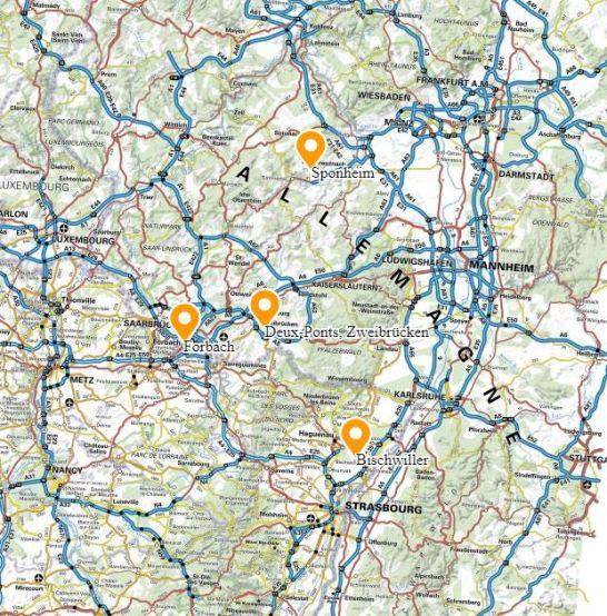Carte de situation de Forbach, Deux-Ponts, Zweibrücken, Bischwiller et Sponheim
