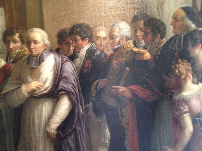 Musée des Beaux-Arts de Chartres, détail du tableau d'Etienne-Barthélémy Garnier (1759-1849) : « Entrevue du duc et de la duchesse d'Angoulême », 1827. Le comte et le vicomte de Courtavel se trouvent au dernier plan, à gauche et à droite.