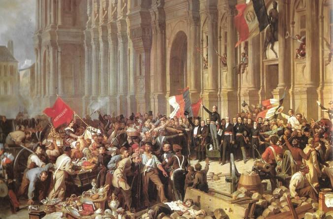 Lamartine, chef du gouvernement provisoire, 25 février 1848 (tableau de F. Philippoteaux, 1848, Musée Carnavalet ou Hôtel des Ligneris)