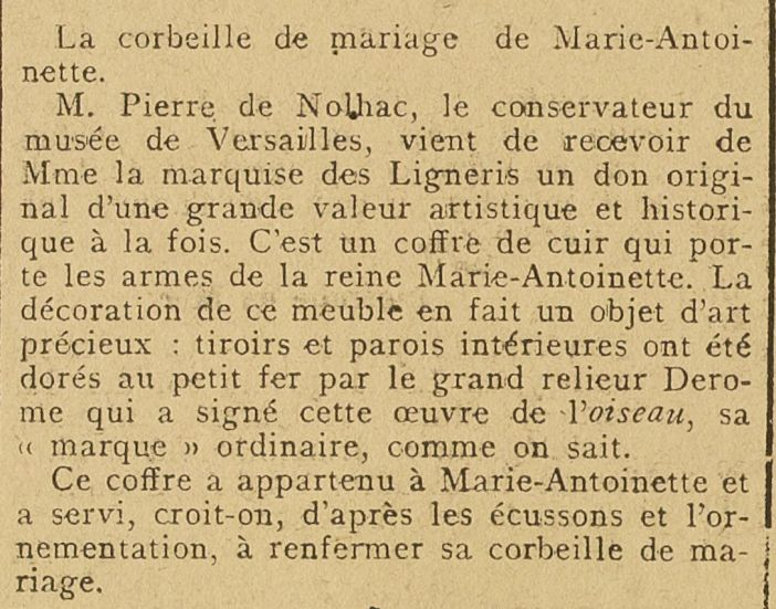 Article_La_Petite_presse - 16.01.1912_don au Chateau de Versailles