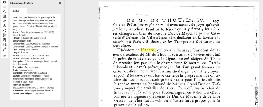 Mémoires de Jacques-Auguste de Thou, édition 1711, BNF 4-LN27-19601, p147_Theodore de Ligneris