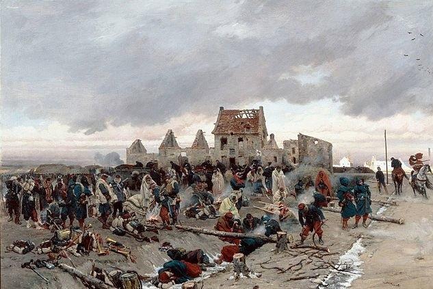 """""""Bivouac après le combat du Bourget, 21 décembre 1870"""" par Alphonse de Neuville, 1873 (collections du Musée d'Orsay)"""