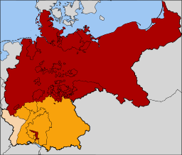 Confédération allemande du nord crée en 1867 (en rouge)